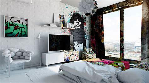 half hotel rooms half graffiti half white ukrainian artist perfectly divides hotel room