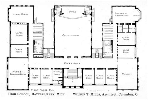 high school floor plans first floor plan knowlton school digital library