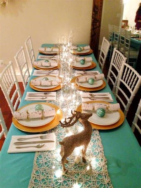 christmas decor table setting ideas using teal white and