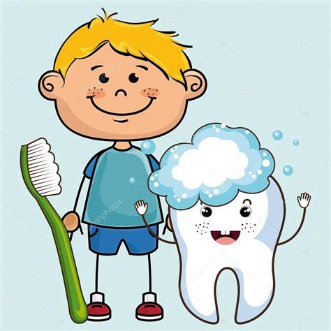 Sourire D Enfant De Dessin Anim Avec La Brosse Dents Et Dent De Dessin Anime Avec La Brosse A Dents Image Libre De Droits L