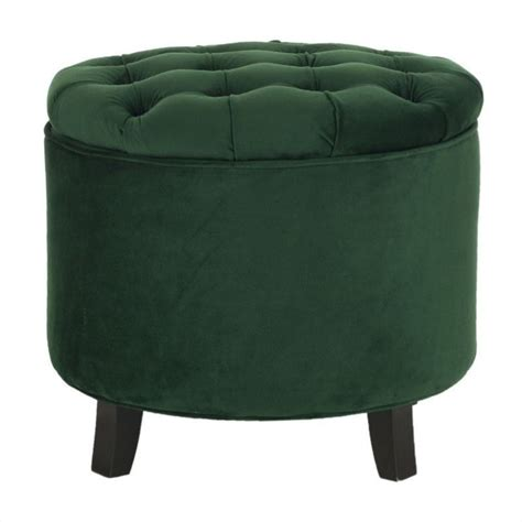 Safavieh Amelia Oak Tufted Storage Ottoman In Green Hud8220p Safavieh Amelia Tufted Storage Ottoman