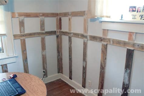 Pallet Wainscoting by How To Add Wainscoting Using Pallet Wood Scrapality