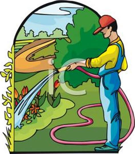 man  overalls watering  plants clipart picture