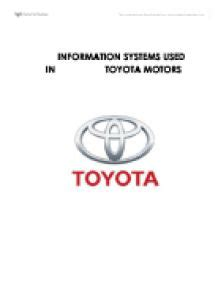 Toyota Information System Information System Used In Toyota Motors