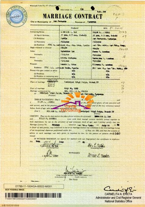 Marriage Records Philippines Marriage Contract Sle Form Philippines Found File