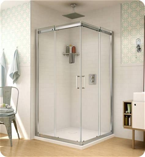 banyo shower doors fleurco stc42 banyo shuttle square 42 semi frameless corner entry sliding doors