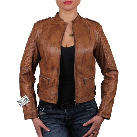 ladies brown leather biker brown leather jacket wild