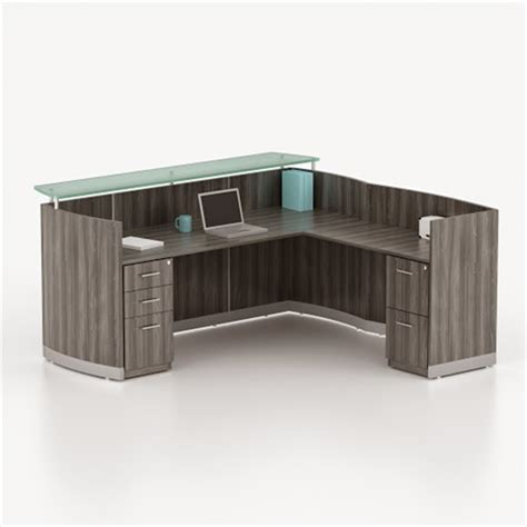 l desk with storage mayline medina gray steel l shaped reception desk with