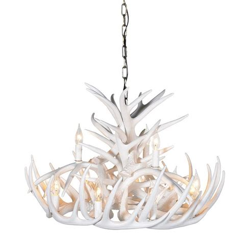 White Antler Chandelier Large 2 Tier White Antler Chandelier Light Mulberry Moon