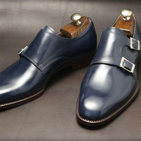 handmade mens real leather monk shoes navy blue