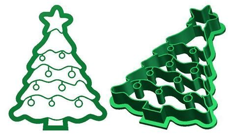 christmas tree cookie cutter 3d model 3d printable stl