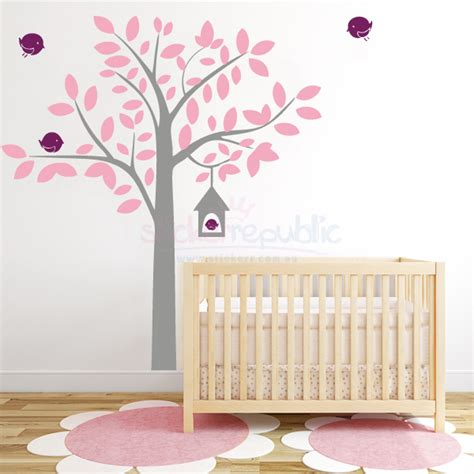 bird house tree wall sticker birdhouse and large tree wall