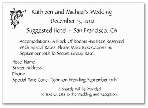 wedding hotel accommodation card template wording to use when giving out room block information to
