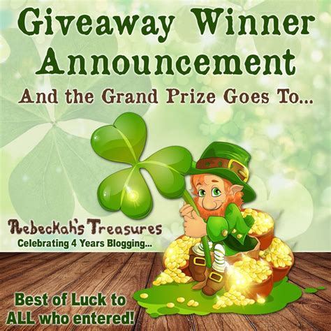 Lucky Giveaway - lucky sweepstakes giveaway winner announcement 2017 rebeckah s treasures