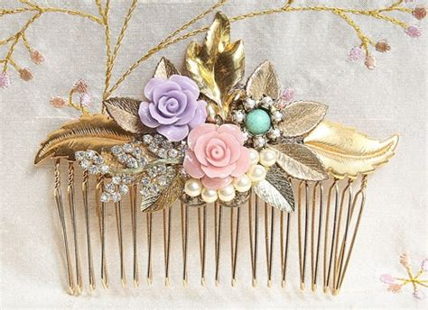 Gold Bridal Hair Comb Shabby Chic Hair Comb Hair Shabby Chic Wedding Accessories