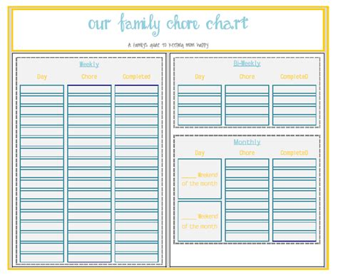 printable chore organizer free printable pdf or free xcel editable download chore