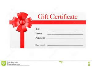 gift certificate with red ribbon and bow 3d rendering