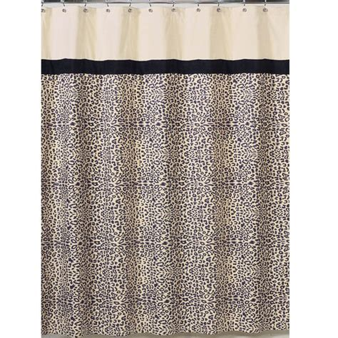 Leopard Print Fabric Bath Shower Curtain Cream Black