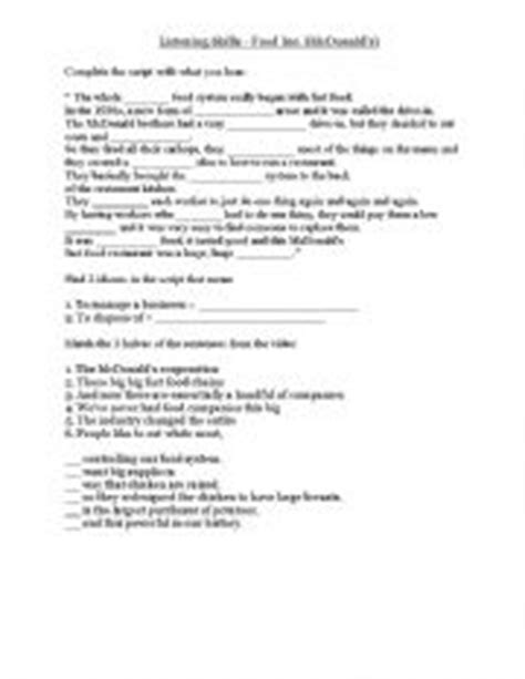 Answers To Food Inc Worksheet by Food Inc Documentary Segment Mcdonald 180 S