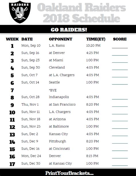 printable nfl schedule 2017 image gallery raiders schedule 2016 2017