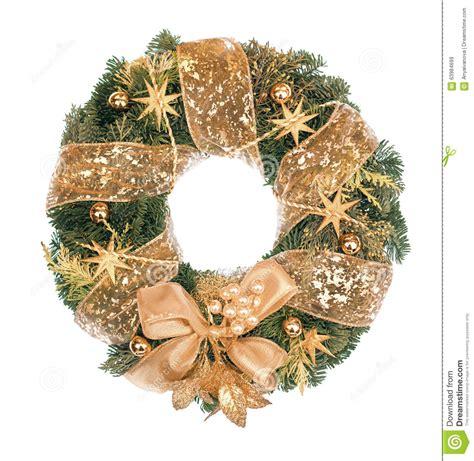christmas wreath  golden decorations  white background stock image image