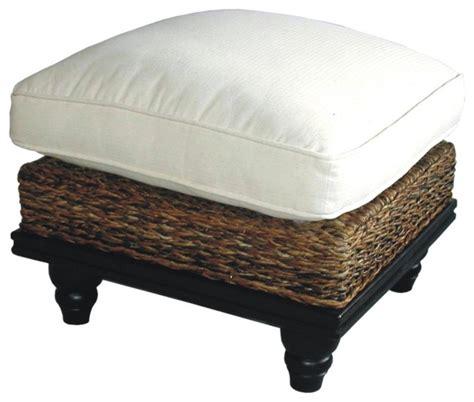 Astor Tropical Woven Abaca Cushion Ottoman w Mahogany Base   Contemporary   Footstools And