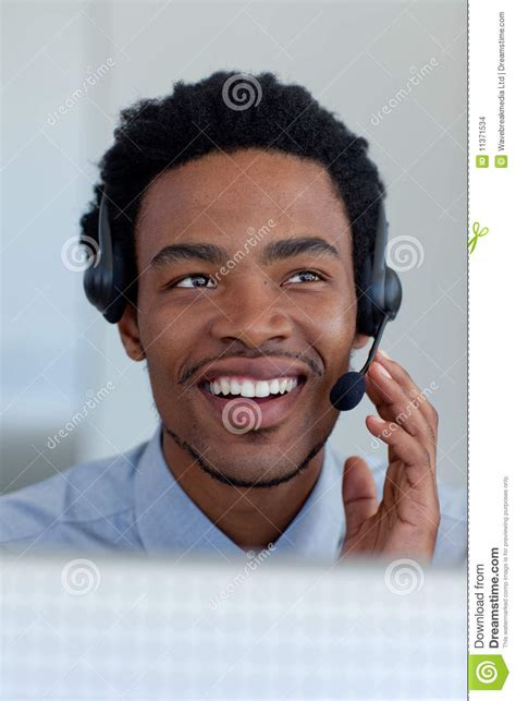 afro american afro american businessman in a call center stock images