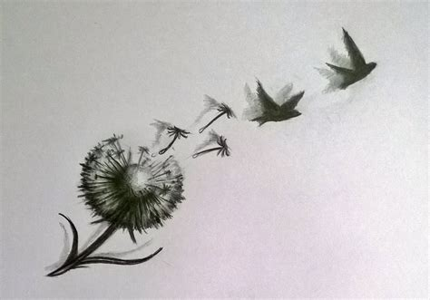 dandelion tattoo with birds dandelion bird drawing stetc pictures to pin on