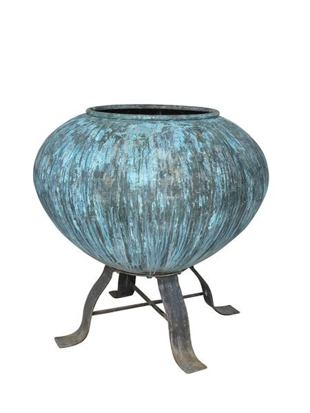 large copper outdoor pot planter  stand