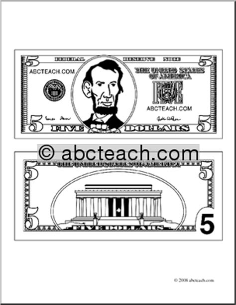 coloring page 5 dollar bill 5 dollar clipart clipart suggest