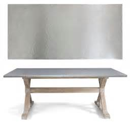 Metal Topped Dining Tables Bernhardt Interiors Quentin Dining Table Hammered Stainless Steel Top Solid Mindi Wood