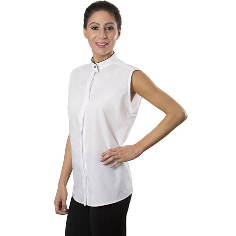 Blouse Collar Ky s white sleeveless banded collar shirt