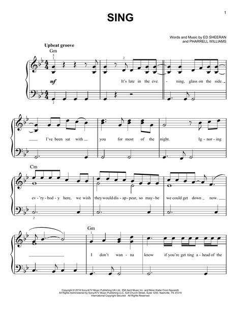 ed sheeran voice type sing sheet music by ed sheeran easy piano 155601