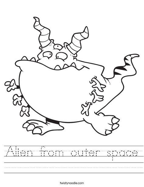 alien from outer space worksheet twisty noodle