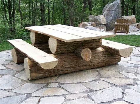 log picnic table outdoor living spaces