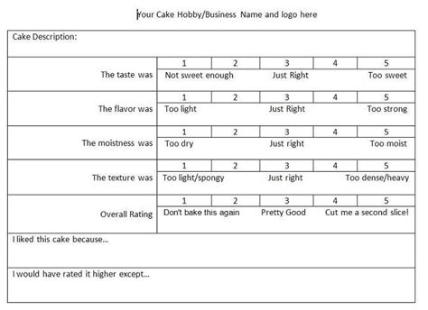 Food Tasting Comment Card Template For Word by Cake Tasting Score Sheet Slumber
