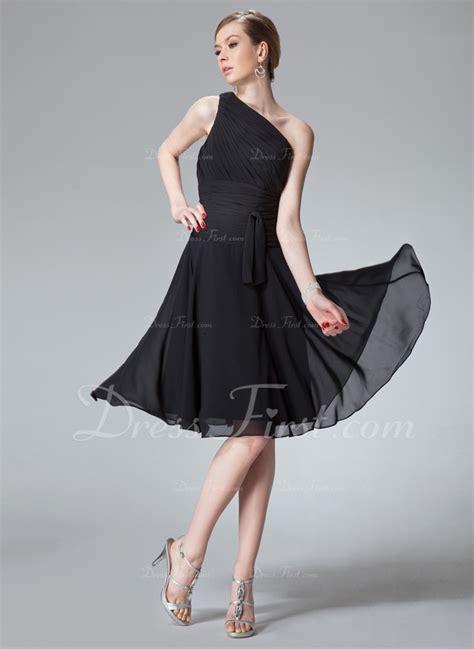 a line black knee length one shoulder chiffon bridesmaid dress cozk1300c a line princess one shoulder knee length chiffon