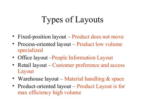product layout types operation management