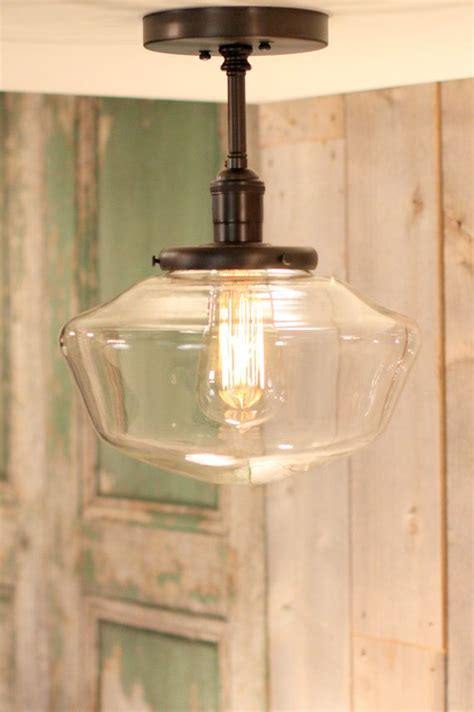 school house lighting downrod pendant lighting with 10 quot clear schoolhouse style glass shade