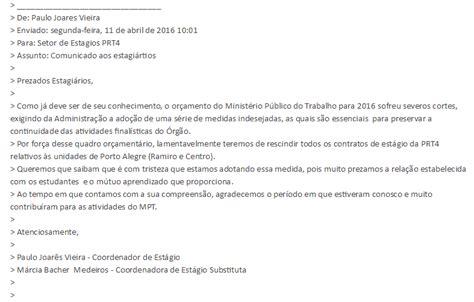 No Guarantee Letter Servidores Terceirizados E Estagi 225 Rios S 227 O Demitidos Do Minist 233 P 250 Blico Do Trabalho No Rs