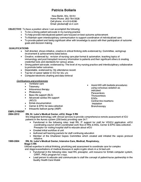 Icu Rn Description by Quality Critical Care Resume
