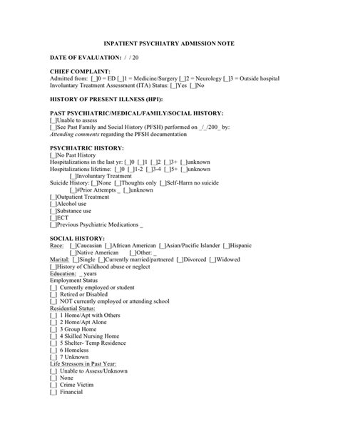 Psychiatric Admission Note Template Inpatient Psychiatric Admission Note In Word And Pdf Formats