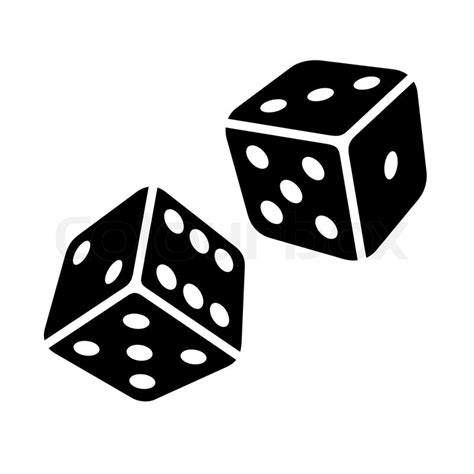 two black dice cubes on white background vector