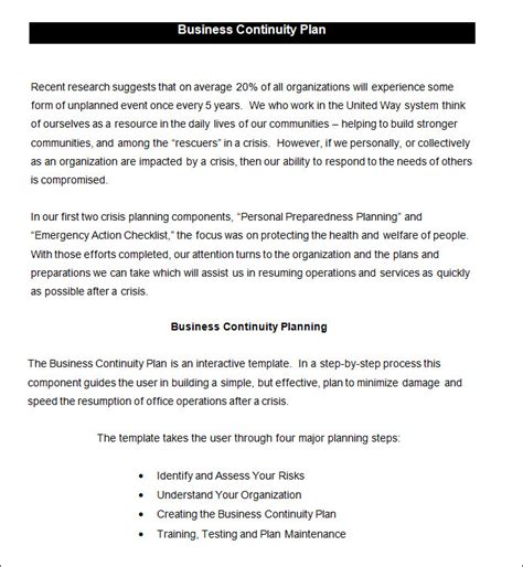 Business Continuity Plan Template 9 Free Word Pdf Documents Download Free Premium Templates Simple Business Continuity Plan Template