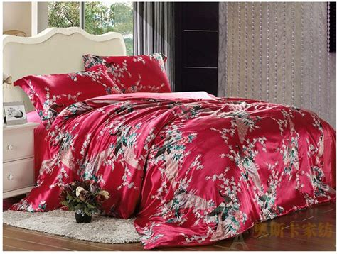 peacock comforter set full red peacock feather print silk satin bedding set king