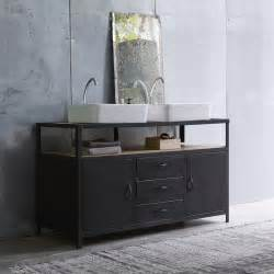 Metal Bathroom Cabinet Tikamoon Industriel Metal And Mango Vanity Cabinet 140