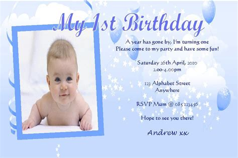 1st Birthday Invitation Card In Birthday Invitations Wording Birthday Party Invitations