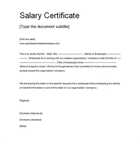 Income Certificate On Letterhead 10 salary certificate templates free word pdf psd