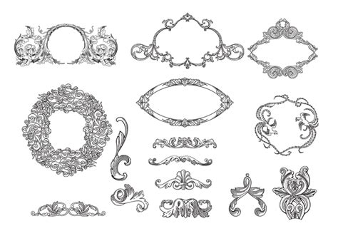 cornici gimp etched frames ornament brush pack free photoshop
