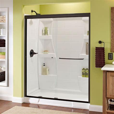 Bronze Sliding Glass Doors Delta Simplicity 60 In X 70 In Semi Framed Sliding Shower Door In Bronze With Clear Glass